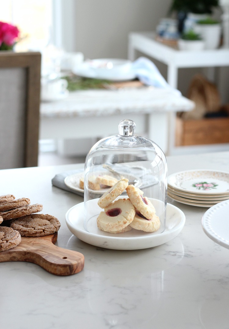 Christmas Home Tour - Kitchen Counter with Cookie Cloche - Satori Design for Living