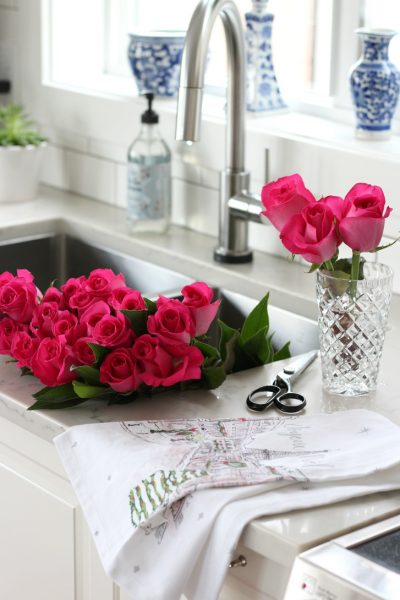 Christmas Home Tour with Bright Pink Roses in the Kitchen