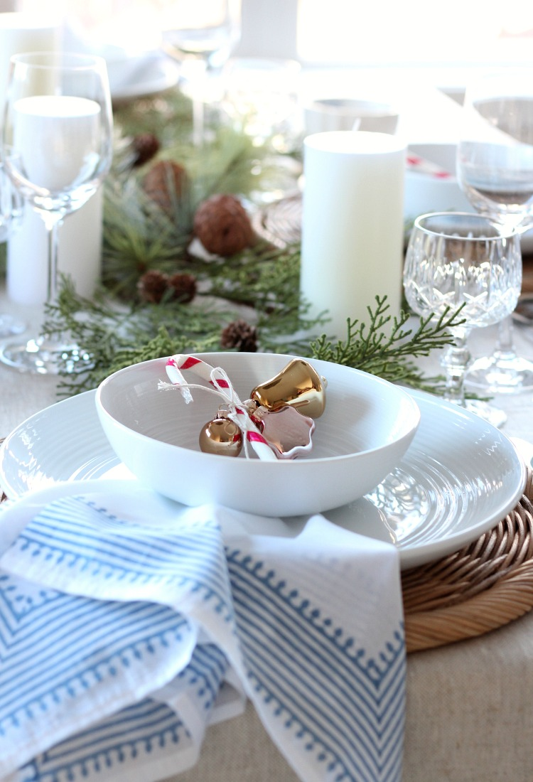 Neutral Christmas Table Setting with Pops of Pink and Blue Decor - Satori Design for Living