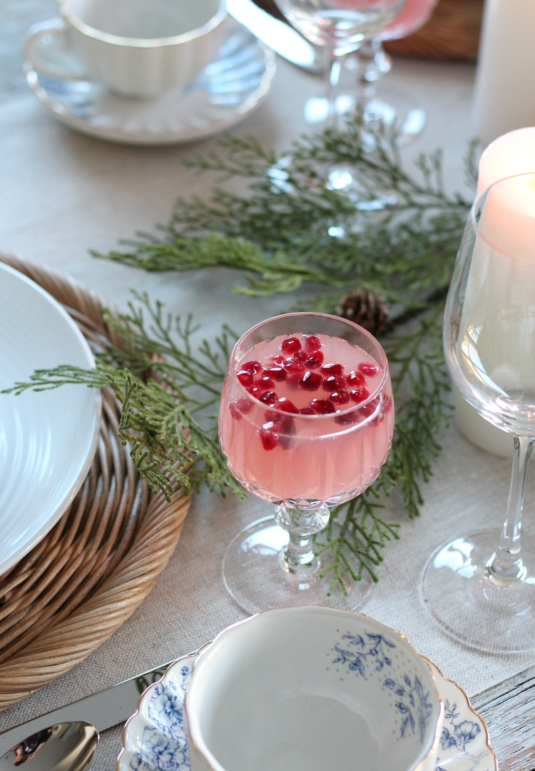 Festive Pink and Red Christmas Drink in Cut Crystal Goblet - Christmas Table Setting Ideas - Satori Design for Living