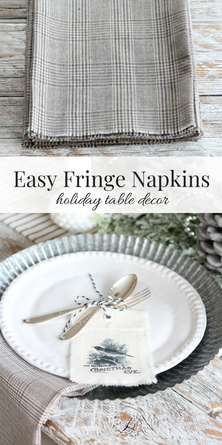Make these easy fringe napkins for your holiday table. A quick and inexpensive no-sew project!