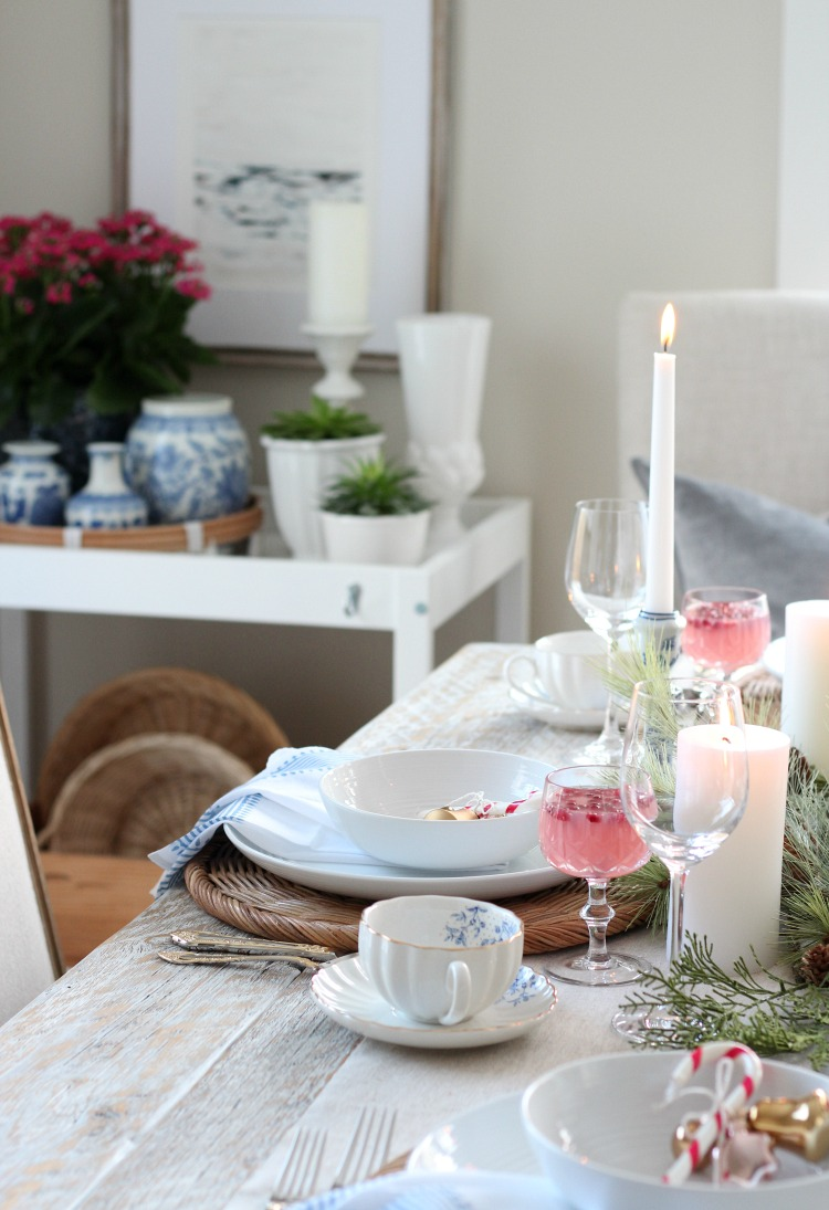 Christmas Dining Room Decorated in Pink, Blue and Gold Decor - Decorating for Christmas with Thrift Shop Finds - Satori Design for Living