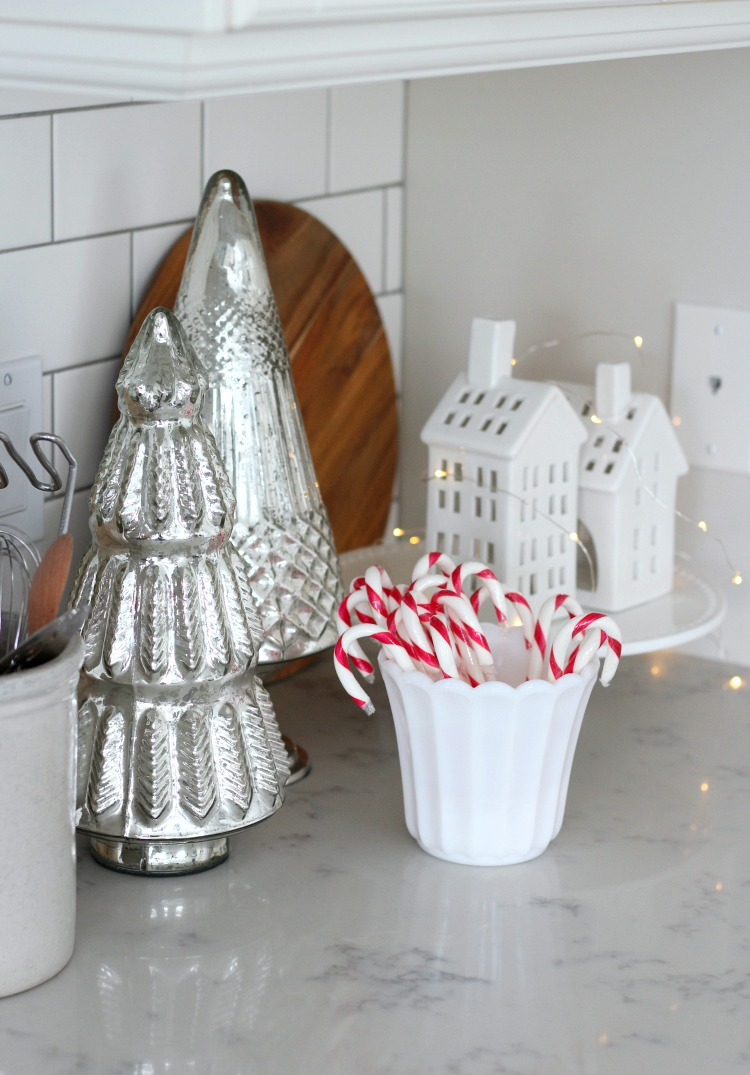 Christmas Kitchen Decorating Ideas with Mercury Glass Trees and White Houses - Satori Design for Living