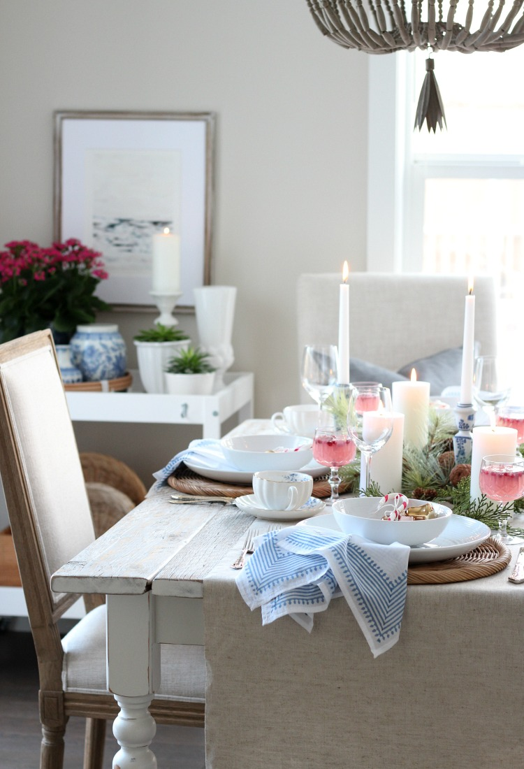 Christmas Dining Room Decorated in Pink, Blue and Gold Decor - Colourful Holiday Table Setting - Satori Design for Living