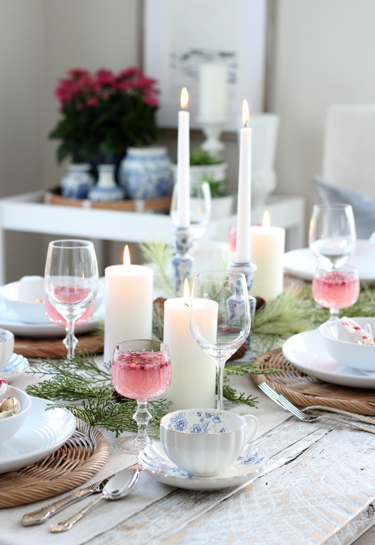 Christmas Tablescape with Pops of Pink, Blue and Gold Decor - Satori Design for Living