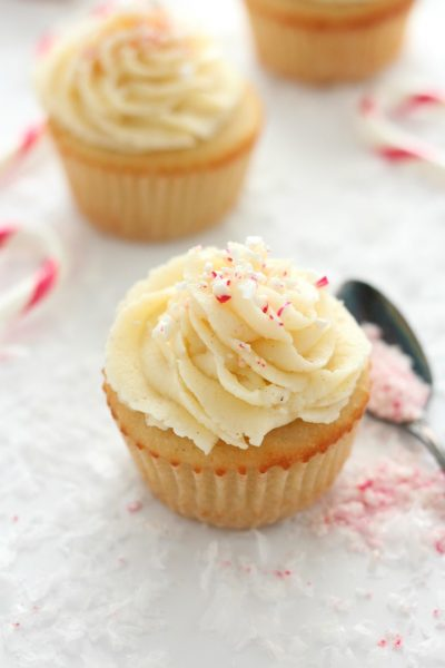 These gluten-free cupcakes with eggnog buttercream frosting are a delicious and festive treat the whole family will enjoy over the holidays!