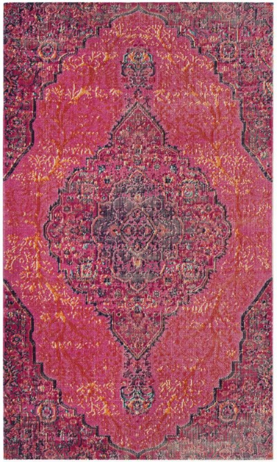 Vintage Bohemian Bright Pink Distressed Area Rug - Bold Rug Options for the Kitchen - Satori Design for Living