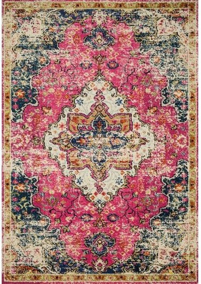 Vintage Bohemian Pink Medallion Distressed Rug - Bold Rug Options for the Kitchen - Satori Design for Living