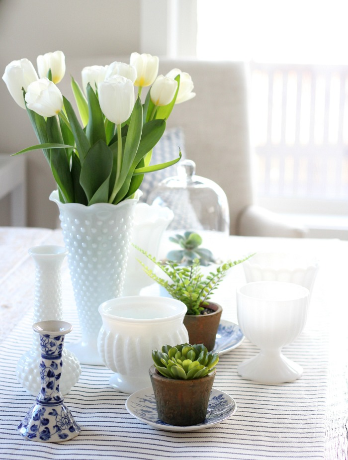 Collection of Milk Glass Pots and Vases with Tulips - Spring Table Decor