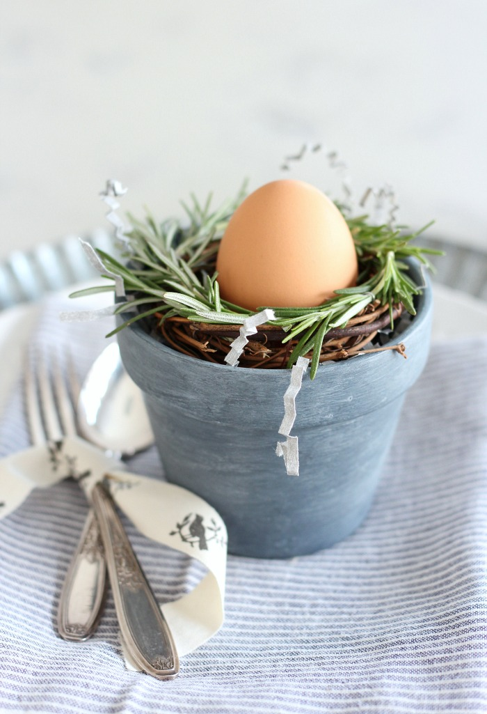 Mini Concrete Painted Pots with Rosemary Wreath and Easter Egg - Satori Design for Living