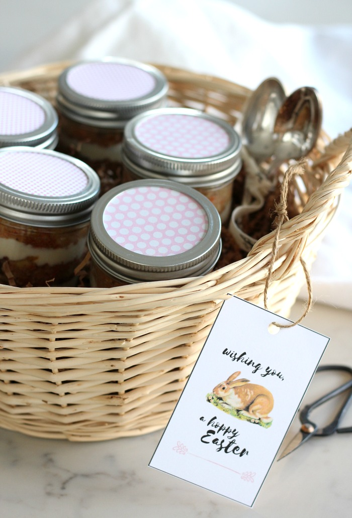 Put Together a Basket of Carrot Cake Jars for Easter - Easter Gift Idea with Printable Bunny Gift Tag - Satori Design for Living