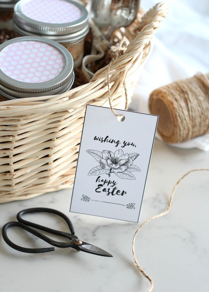 Easter Dessert Basket Filled with Carrot Cake Jars and Finished Off with a Printable Easter Tag - Satori Design for Living