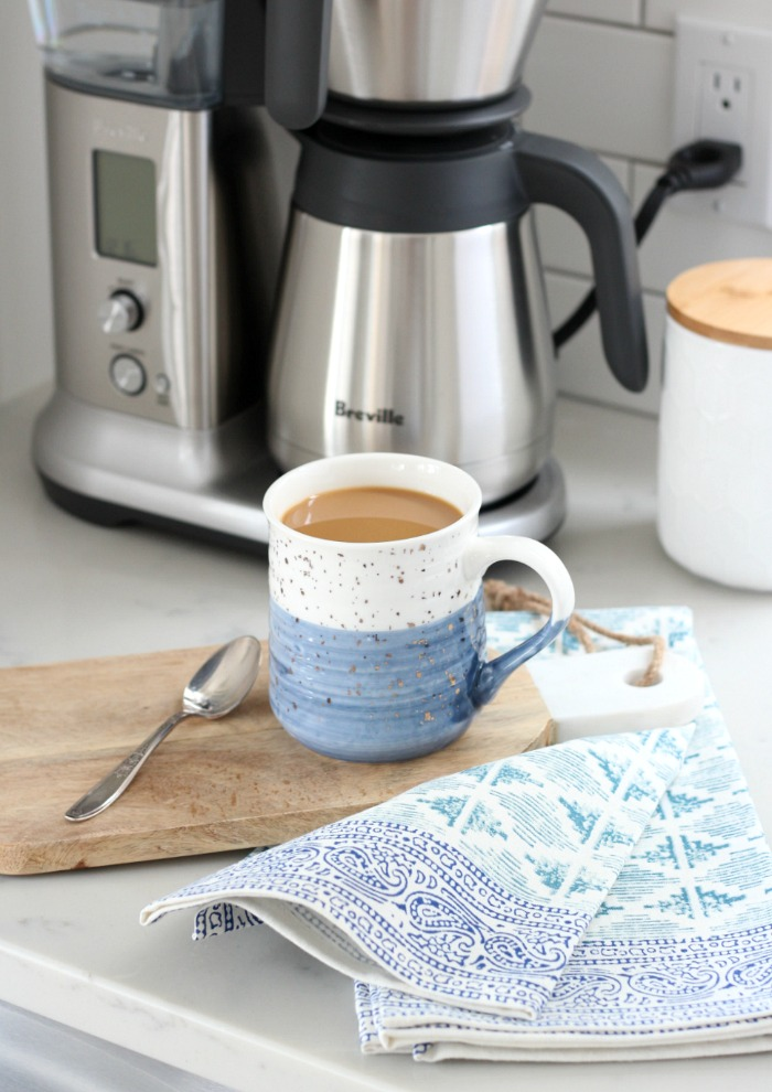 Freshen Your Kitchen for Spring - Blue Block Printed Tea Towel and Mug