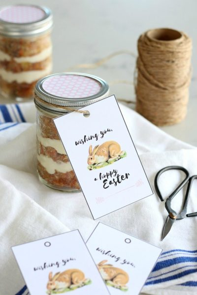 Hoppy Easter Free Printable Tags with Carrot Cake Jars - Satori Design for Living