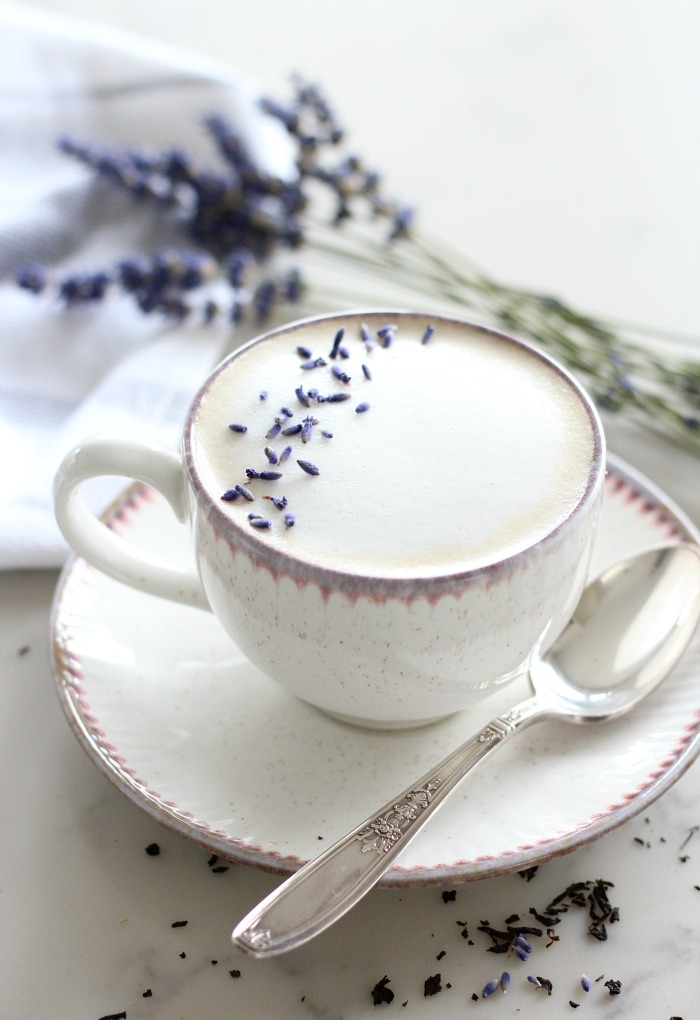 Lavender London Fog Latte Recipe - Creamy Tea Latte in Pretty Mug for Mother's Day - Satori Design for Living