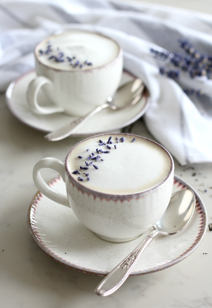 Lavender London Fog Latte Recipe - Pretty Mugs Filled with Delicious Tea Latte for Mother's Day - Satori Design for Living