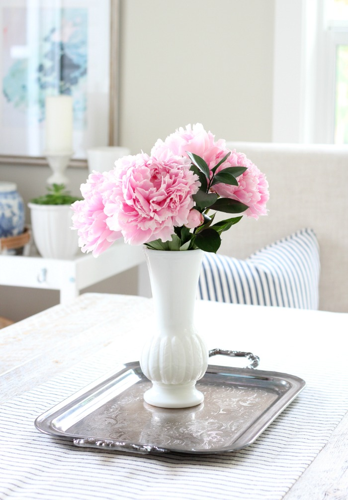 Pink Peonies in Milk Glass Vase