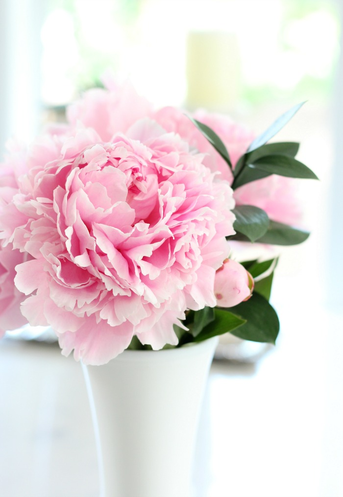 Pale Pink Peony Bouquet in Milk Glass Vase