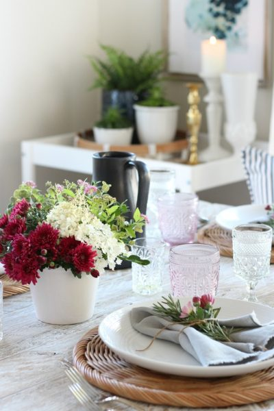 Foraged Fall Tablescape in Shades of Crimson and Pink
