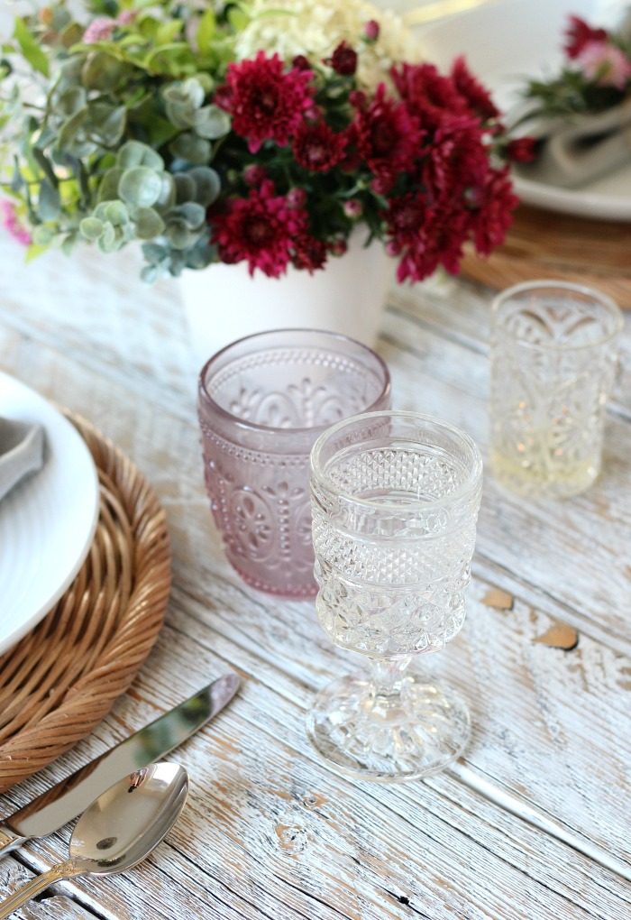 Thrifted Fall Tablescape with Pink Pressed Tumblers and Pressed Glass Goblets