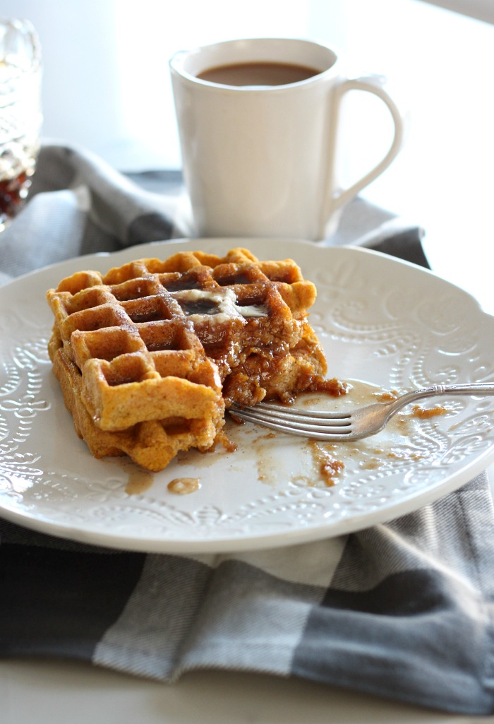 Almond Flour Pumpkin Waffles - Gluten Free Waffle Recipe with Spiced Maple Syrup