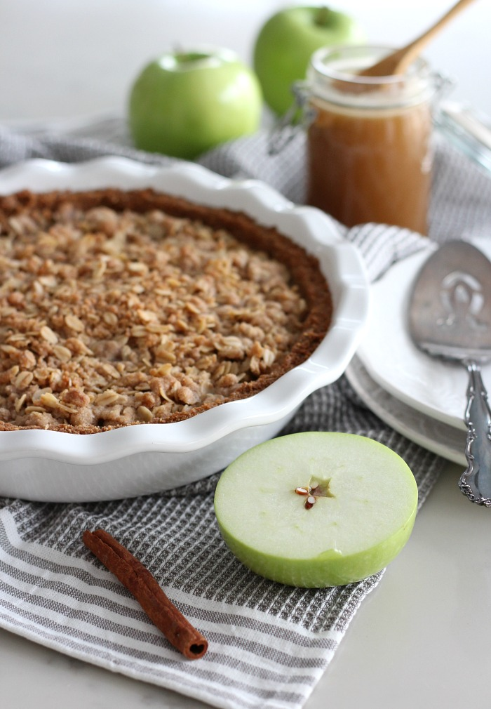 Gluten Free Apple Pie with Ginger Crust, Oat Crumble Topping and Salted Caramel Sauce