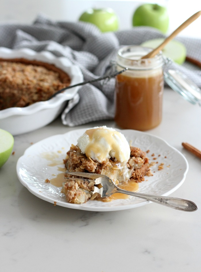 Ginger Apple Crumble Pie with Salted Caramel - Gluten Free Apple Pie on White Plate
