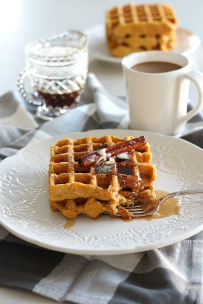 Gluten Free Pumpkin Waffles with Spiced Maple Syrup