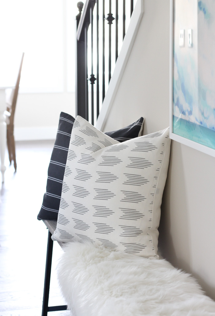 Printed Linen Pillows on Bench