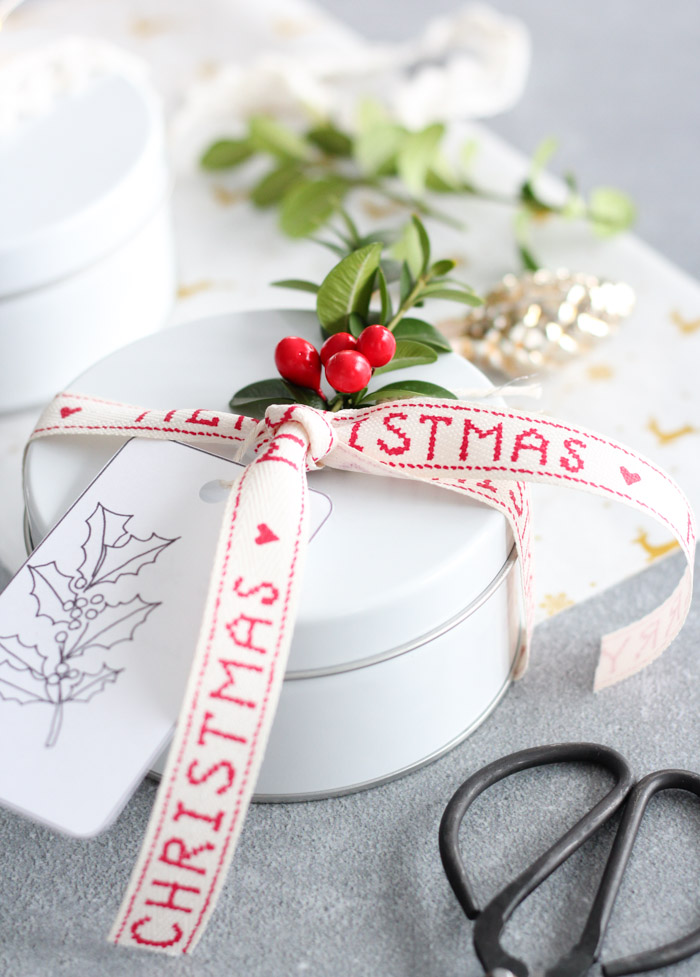 Christmas Cookies Packaged in White Tin with Holiday Ribbon, Boxwood and Tag