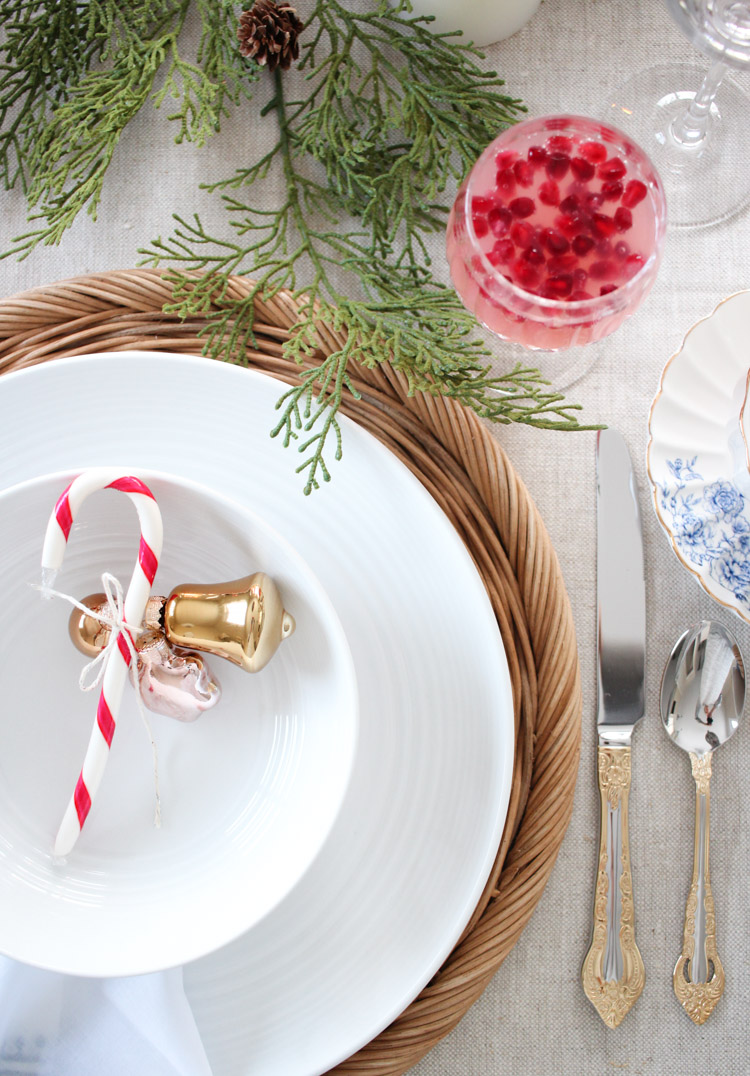 Simple Christmas Table Setting Ideas in Pink, Blue and Gold - Satori Design for Living