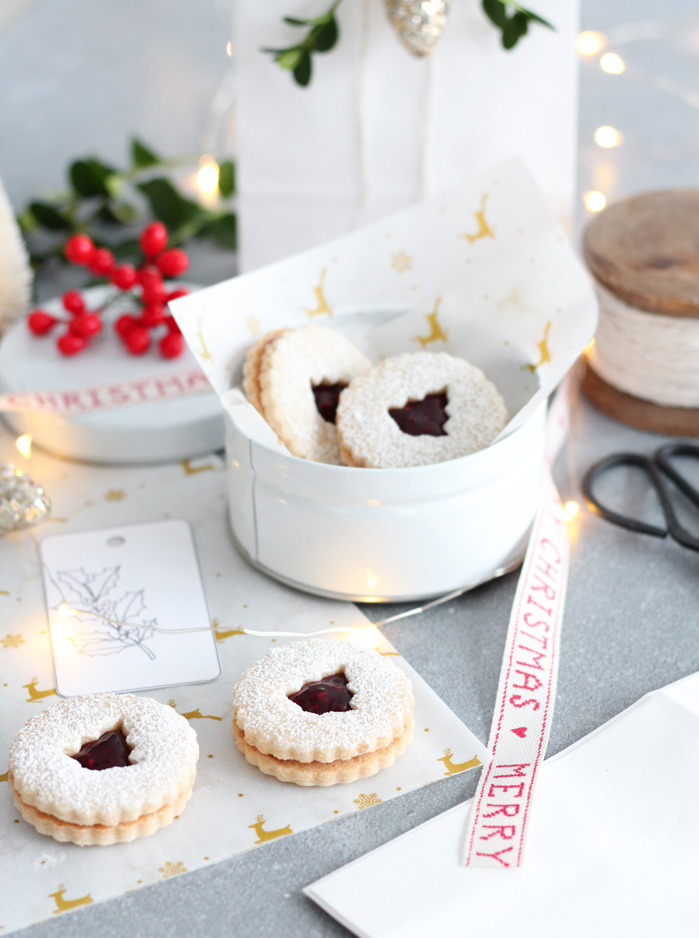 Linzer Cookies Packaged for Christmas Gifts in Tins and Bags