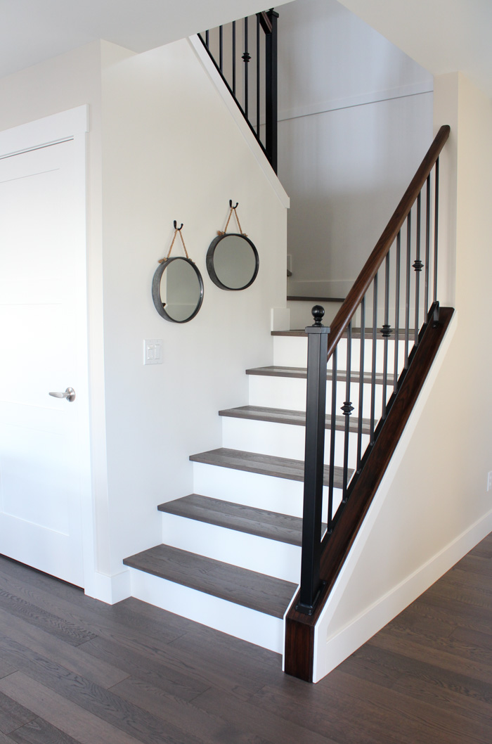 Hardwood Stairs with White Painted Risers
