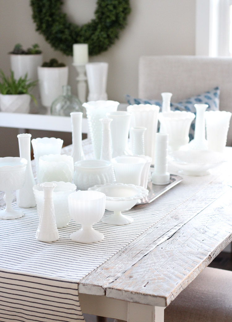 White Milk Glass Vase Collection