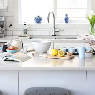 White Kitchen Makeover with IKEA Cabinets and Subway Tile Backsplash