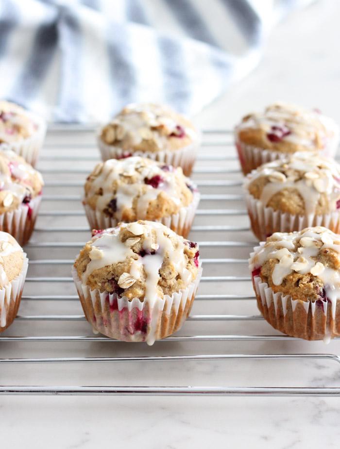 Cranberry Oat Muffins with Orange Glaze - Gluten Free Muffin Recipe