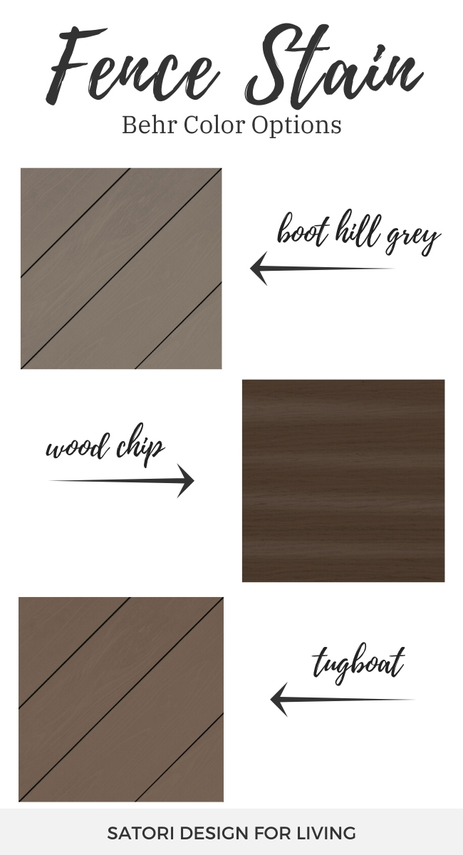 Fence Stain Colors - Behr Boot Hill Grey, Wood Chip and Tugboat