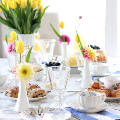 Afternoon Tea for Mother's Day - Bright and Cheery Spring Table Setting with Yellow Tulips in Milk Glass Vase