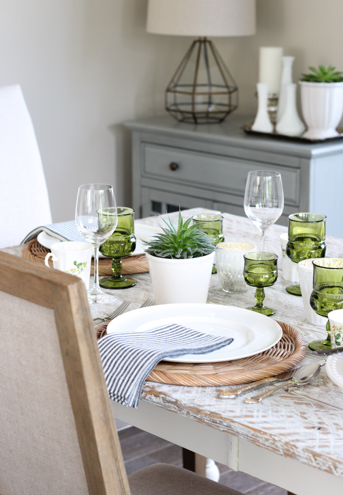 Tablescape with Potted Succulents and Vintage Green Glassware