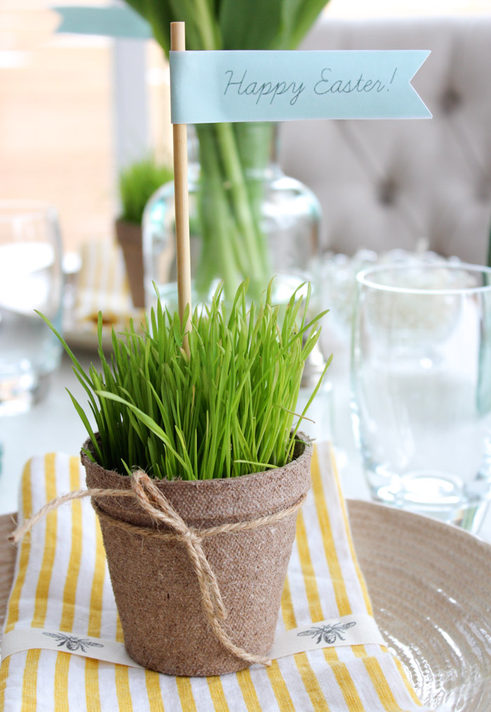 Potted Wheatgrass Easter Table Decorations