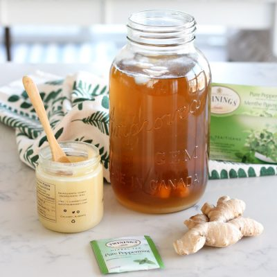 Ginger Mint Iced Tea in Jar