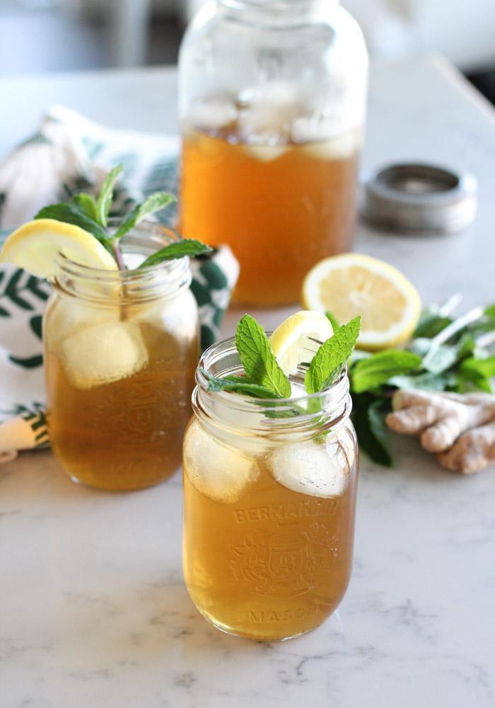 Homemade Ginger Mint Iced Tea in Jars