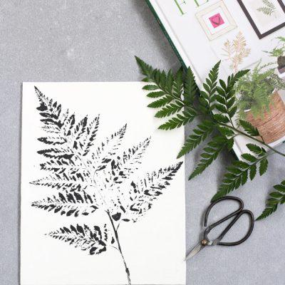 DIY Printed Fern Art - Black Leatherleaf Fern on White Canvas