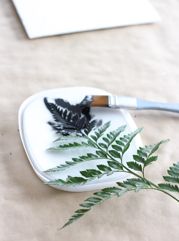 How to Do a Fern Leaf Printing on an Art Canvas Using Paint