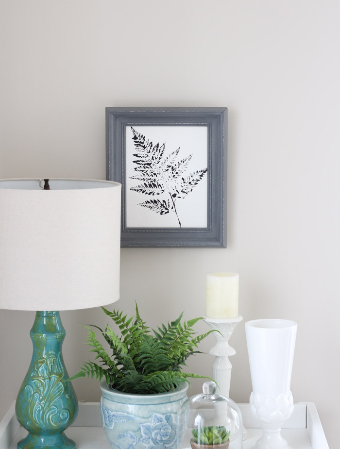 Black and White Fern Art with Grey Frame