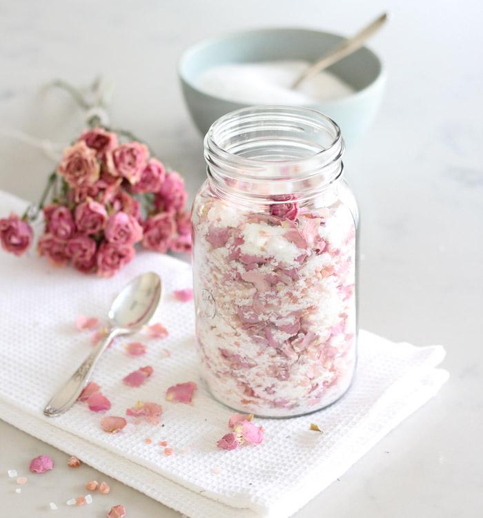 DIY Rose Petal Salt Soak in Glass Jar