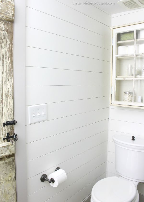 Bathroom Makeover with Shiplap Walls Painted in Benjamin Moore White Dove