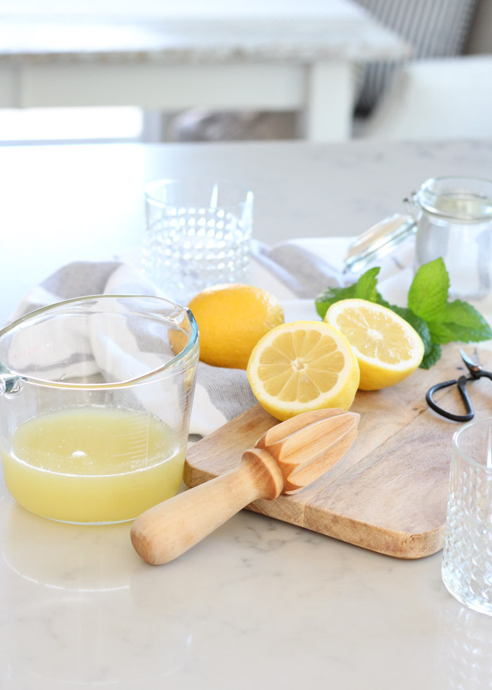 How to Make Bourbon Mint Lemonade with Fresh Lemons, Mint and Bourbon