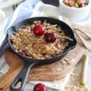 Cherry Rhubarb Crisp Baked in Mini Cast Iron Skillets
