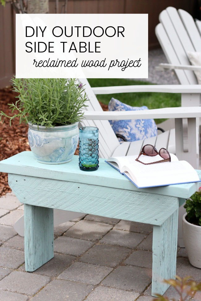 DIY Outdoor Side Table Using Reclaimed Wood and Aqua Paint